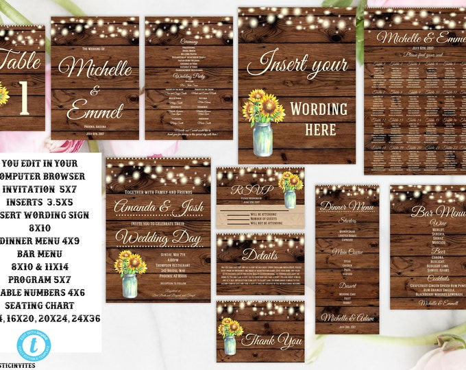 Rustic Sunflower Wedding Invitation Template Package, Sunflower, Wedding Invitations, Wedding Set, Editable, Printable, Online Invitations