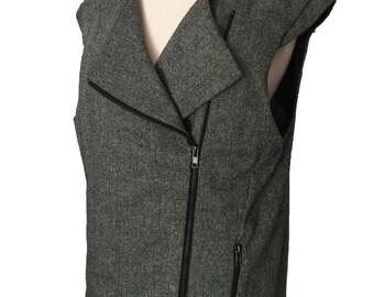 Vintage 1980s Retro Rocker Asymmetrical Zip Tweed Moto Vest 80s Punk Glam Avant Garde  Boxy Vest