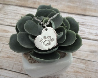 Hand Stamped Mama Bear Heart Necklace