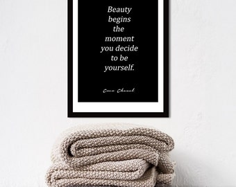 Poster poster quote from coco chanel beauty begins in classic black, female and original poster for the House.
