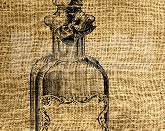 INSTANT DOWNLOAD Vintage Perfume Bottle with Label - Download and Print - Image Transfer - Digital Sheet by Room29 - Sheet no. 365
