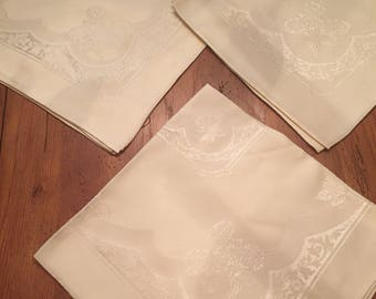 Vintage Irish Damask Napkins - 3 of them