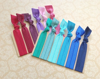 Pick 6 Handmade Elastic Hair Ties, Customize, Personalize, 35 Colors to Choose From,