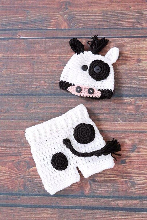 Crochet baby cow costume beanie hat with shorts, newborn babies photo prop