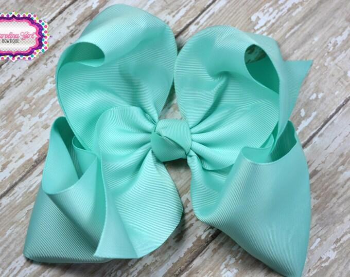 6 in. Aqua Boutique  Hair Bow - XL Hair Bow - Big Hair Bows - Girl Hair Bows