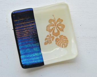 Blue Iridescent Hibiscus Mini Fused Glass Dish