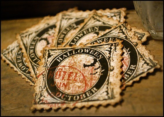 Items Similar To Halloween October Postage Stamps