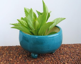 Plant Pot for Cuttings, Succulent Planter, Peacock Blue Pottery Pot with Drainage Tray, Cactus Planter, Housewarming Gift, Gardening Gift