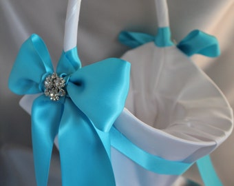 Larger -White or Ivory Satin Flower Girl Basket Turquoise Satin Ribbon and Rhinestones-More Ribbon Colors Available