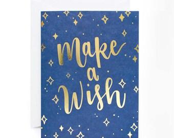 Make A Wish Gold Foil Birthday Card
