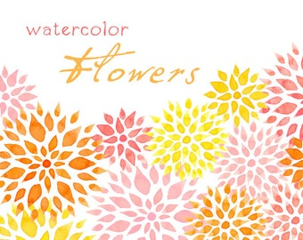 Digital Clipart, Watercolor Flowers, Fireworks Flowers
