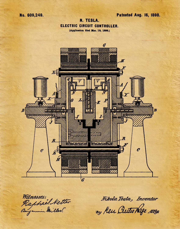 Patent 1898 Tesla Electric Circuit Controller - Art Print - Poster ...