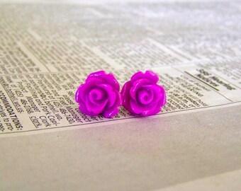 Deep Purple Rose Earrings