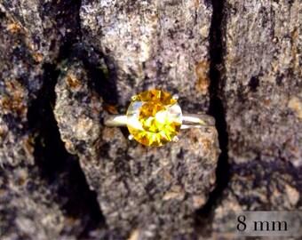Golden Topaz Ring, November Birthstone Ring, Sterling Silver Ring with Golden Topaz Gemstone, Bridesmaids Gifts