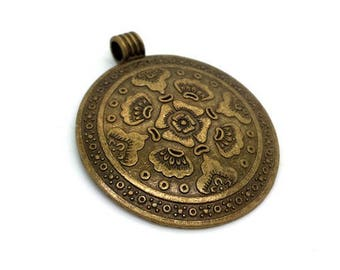 1 large Locket jewelry bronze pendant ethnic Hmong diameter 45mm (bre588)
