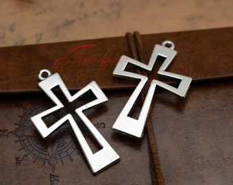 10PCS--54x34mm , Cross Charms, Antique silver Cross charm pendant, DIY supplies,Jewelry Making