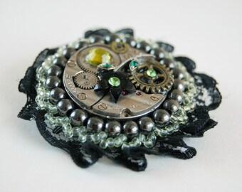 Steampunk brooch, Victorian lace, Clockwork brooch, Vintage lace, Watch gear jewelry