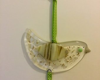 Fused glass mummy and baby bird hanging decoration.