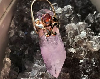 Amethyst Pendant set in 14 kt Gold with Citrine drop