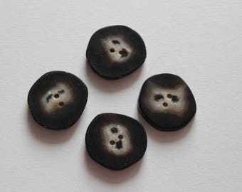 haberdashery button supplies geometric fancy black / ecru