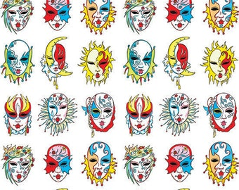 Mardi-Gras Masks - Ceramic Decals- Enamel Decal - Fusible Decal - Glass Fusing Decal ~ Waterslide Decal - 11893
