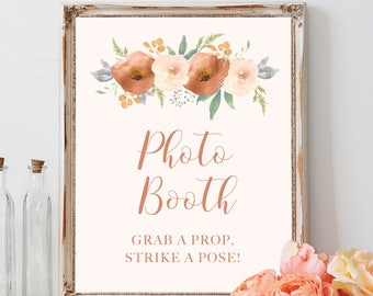 Photobooth Sign, Bohemian Wedding, Hand Painted Watercolor Rose, Cream and Blush Floral, Printable Wedding Sign