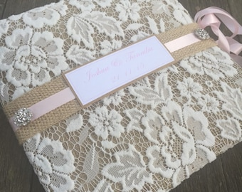 Rustic pale pink hessian and recycled paper guest book