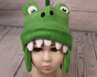 Adult Alligator Fleece Hat, Womans Gator Hat, Men's Alligator Hat, Fleece Crocodile Hat, Winter Gator Hat, Fun Alligator Hat, Fun Gator Gift