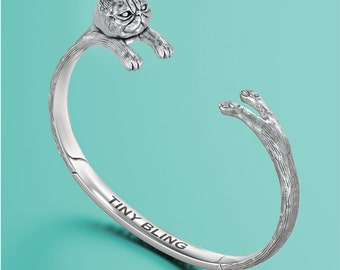 Exotic Shorthair Persian Cat Cuff Cuddle Bracelet in Sterling Silver.