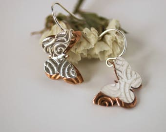 Butterfly Earrings - Small Mixed Metal Double Butterfly Dangles - Made by On The Bend