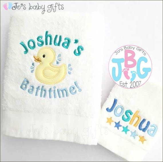 Hooded towels jos baby gifts personalised baby duck flannel towel set baby bath towel embroidered towel bath negle Gallery