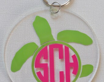 Monogram sea turtle acrylic key chain 3""