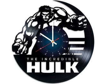 "HULK VINyL RECoRD CLOCK made from 12"" Vinyl Record best gift for kids bedroom gift for potter fans"
