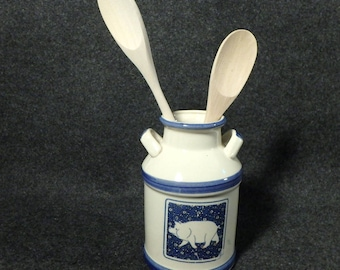 Farm House Country Style - Ceramic Utensil Holder - Milk Jug with Pig Motif - Taiwan
