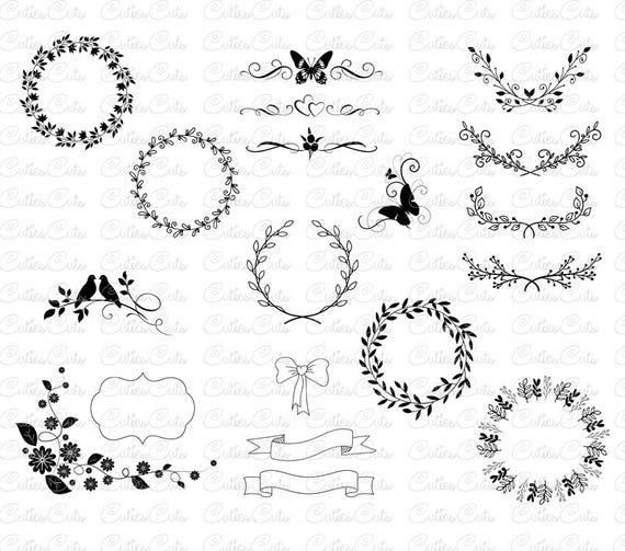 Floral ornaments svg laurel wreath dxf png eps vector files floral ornaments svg laurel wreath dxf png eps vector files decorative elements svg wedding invitation ornament print leaves floral cut file from cutiescuts junglespirit Choice Image