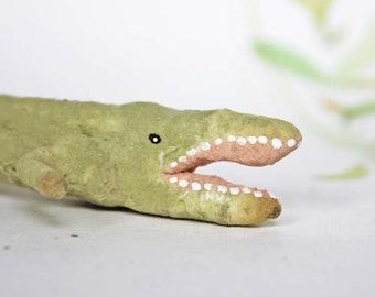 Nostalgischer Christbaumschmuck Wattefigur Krokodil Ornament Spun Cotton