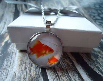 Goldfish Silver Glass Necklace or Key-chain - I love Goldfish, Aquarium, Pet Goldfish, Water, Orange Fish, Carp, Freshwater Fish, Fins, Swim