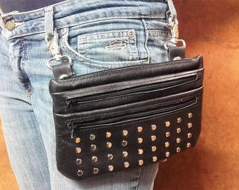 Zippered bag 002 Studded JV collection Made in Italy Leather pouch with metal studs
