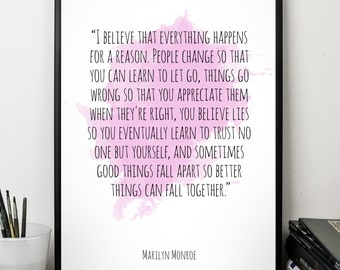 I believe..., Marilyn Monroe , Alternative Watercolor Poster, Wall art quote, Motivational quote, Inspirational quote,T