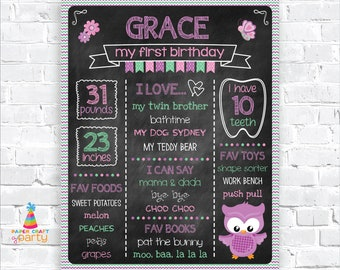 Owl Printable Chalkboard Sign - Milestone Poster - Instantly Download and Edit at Home with Adobe Reader - 1st 2nd 3rd Birthday