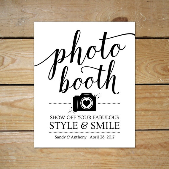 Printable photo booth signs for wedding editable photobooth for Sign templates free downloads