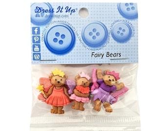 Fairy Bears Teddy Bears Novelty Buttons anf Flatback Jesse James Dress it Up Theme Pack