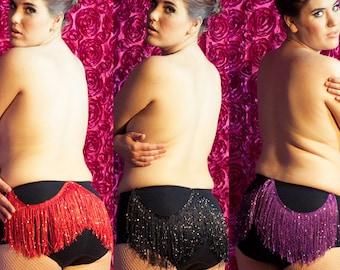 Custom Personalized Burlesque Fringed Panties - Black (You Pick Size & Fringe Color)