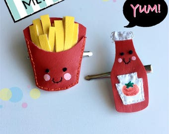 kawaii faux leather fries and ketchup hair clip set