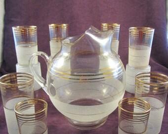 MCM Water Lemonade Ball Pitcher Set w/ 6 Tumblers & 6 Juice Glasses - Gold Band with orange peel bottom