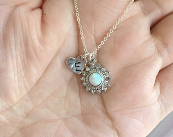 925 Sterling Silver Chain White Opal Sun with Heart Necklace. Opal Necklace.
