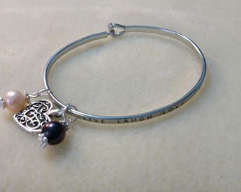 """MADE to ORDER!!!!!!! """"Live Laugh Love"""" Silver Colored Brass Bangle Bracelet with one Charm and your pearls from the Pearl Party!!"""
