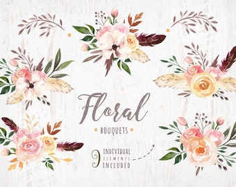 Watercolor boho flowers bouquets. Wedding digital Clip art collection. Individual PNG files. Hand Painted rustic.  Bohemian  tribe wedding