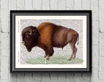 American Buffalo Art Bison Decor Buffalo Print Buffalo Nursery, Animal Print, Bison Wall Decor Bison Print, Nursery Art, Buffalo Art