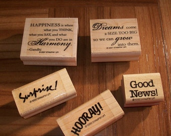 Lot of 5 Rubber Stamps/ Word themed stamps/craft supplies/ stampin' up stamps/ rubber stamping/ scrapbook supplies/ card making supplies